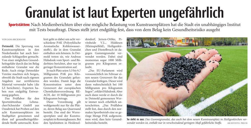 Granulat ist laut Experten ungefährlich (LZ 12.1.17)